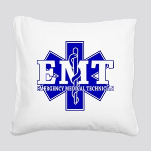 star of life - blue EMT word Square Canvas Pillow