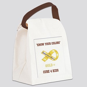 Know Your Colors GOLD = CURE 4 KI Canvas Lunch Bag