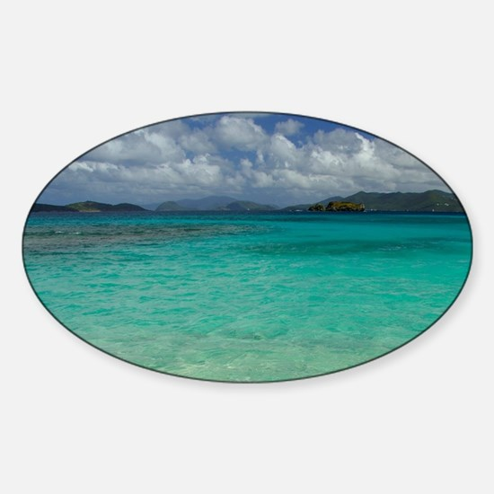 Sapphire Beach. View of the island  Sticker (Oval)
