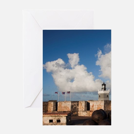 El Morro lighthouse and canonballsn, Greeting Card