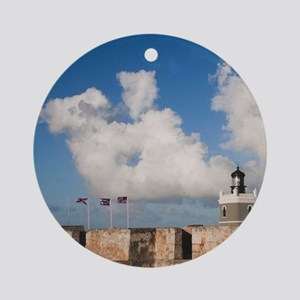 El Morro lighthouse and canonballsn Round Ornament