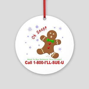 Gingerbread Man Law Suit3 3D Dk Round Ornament