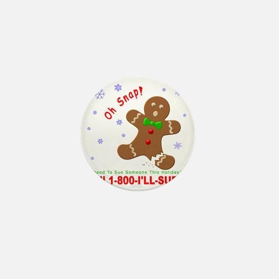 Gingerbread Man Law Suit3 3D Dk Mini Button
