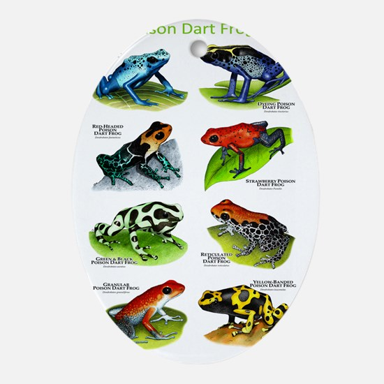 Poison Dart Frogs Oval Ornament