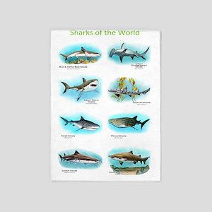 Sharks of the world 5'x7'Area Rug