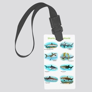 Sharks of the world Large Luggage Tag