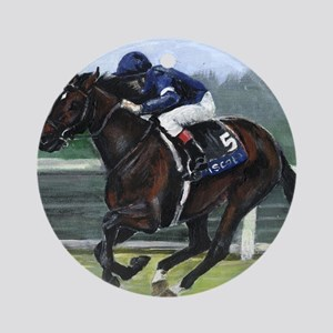 Horse Racing Painting Round Ornament