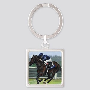 Horse Racing Painting Square Keychain