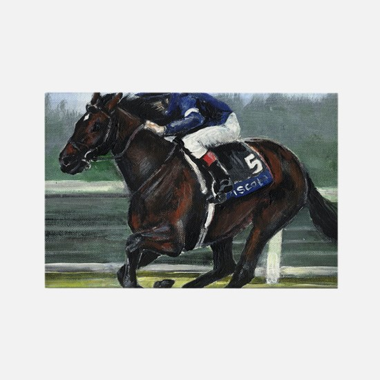 Horse Racing Painting Rectangle Magnet