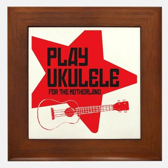 funny russian soviet union ukulele uke Framed Tile