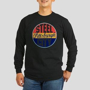 Pittsburgh Vintage Label  Long Sleeve Dark T-Shirt