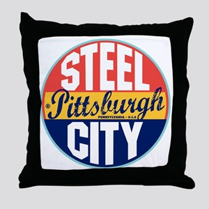 Pittsburgh Vintage Label W Throw Pillow