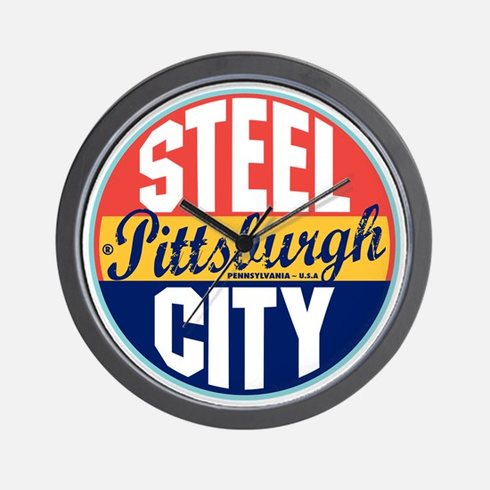 Pittsburgh Vintage Label W Wall Clock