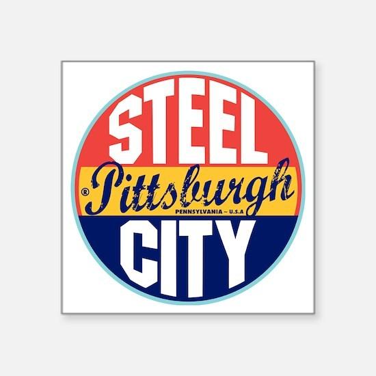 "Pittsburgh Vintage Label W Square Sticker 3"" x 3"""