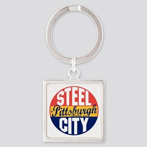 Pittsburgh Vintage Label B Square Keychain