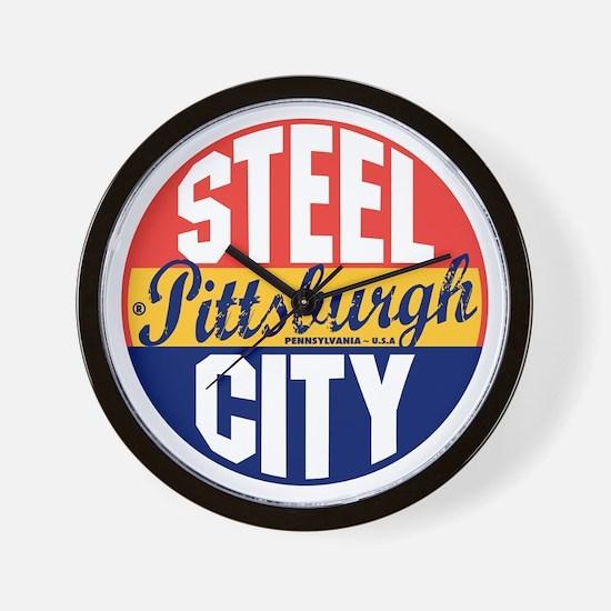 Pittsburgh Vintage Label B Wall Clock