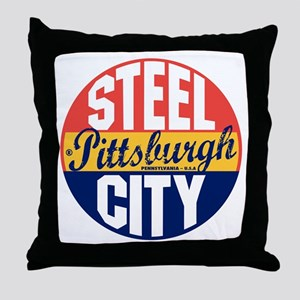 Pittsburgh Vintage Label B Throw Pillow