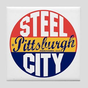 Pittsburgh Vintage Label B Tile Coaster