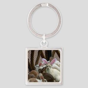 Rabbits Square Keychain