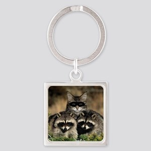 Raccoons Square Keychain