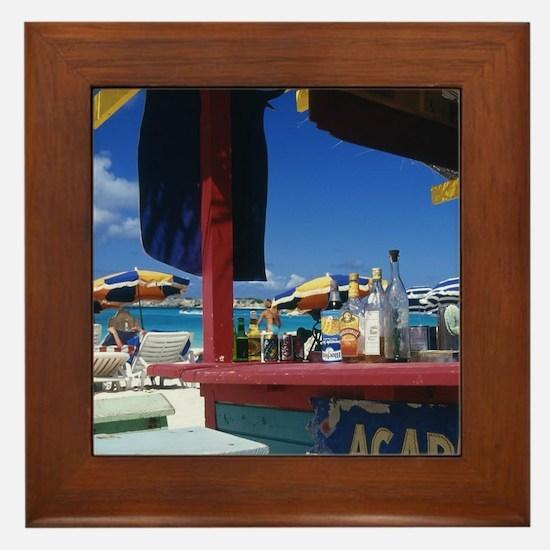 Caribbean, St. Martin. Orient Bay. Framed Tile