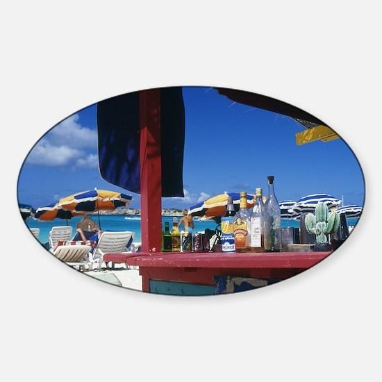 Caribbean, St. Martin. Orient Bay. Sticker (Oval)