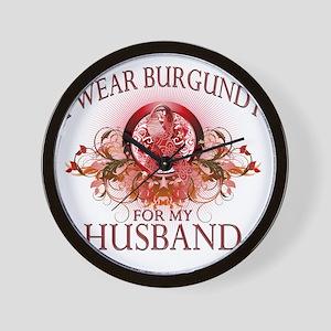 I Wear Burgundy for my Husband (floral) Wall Clock