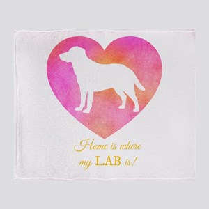 home is where my lab is Throw Blanket