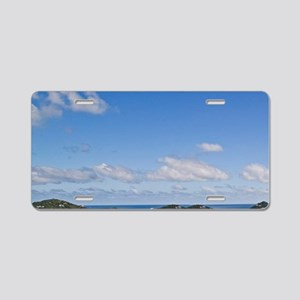 A scenic of Cruse Bay, St J Aluminum License Plate