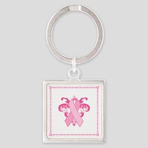 PinkribbonLLLtTysqTr Square Keychain