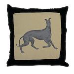 Greyhound Frolic Tan Throw Pillow