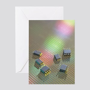 Semiconductor chips on silicon wafer Greeting Card