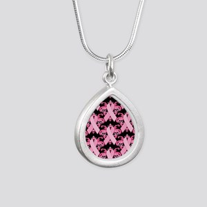 PinkribbonLLLpBsq Silver Teardrop Necklace