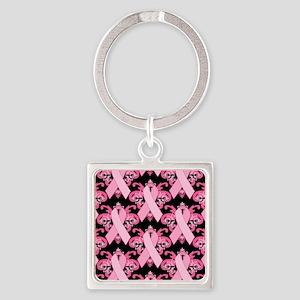 PinkRibHLLLPbMp Square Keychain
