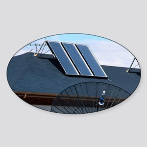 Solar panels on top of a house. Sticker (Oval)