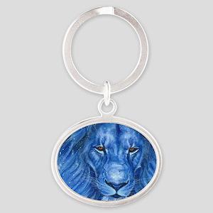 Winter Lion Oval Keychain