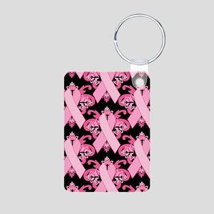PinkRibHLLLPbJr Aluminum Photo Keychain