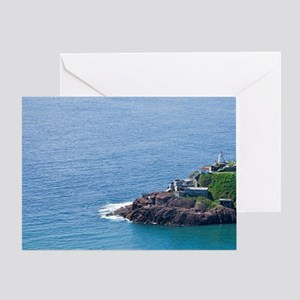 A lobster boat sails by historic For Greeting Card