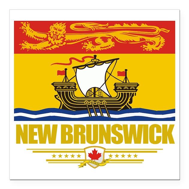"New Brunswick Flag (Flag Square Car Magnet 3"" X 3"" By"