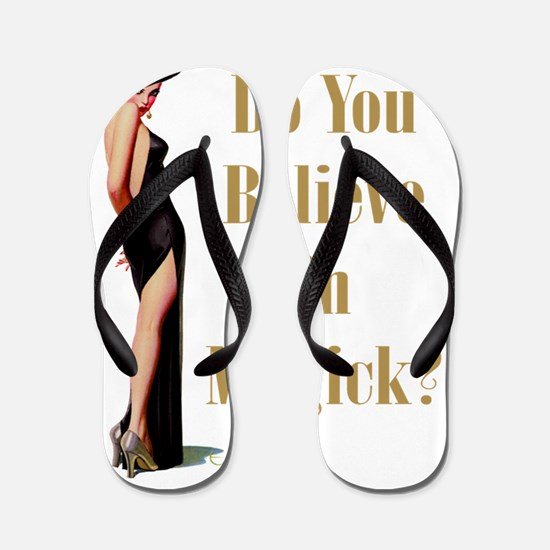 WiTCH_ DO YOU BELIEVE IN MAGICK Gold co Flip Flops