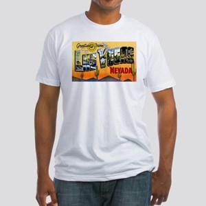 Las Vegas Nevada Greetings (Front) Fitted T-Shirt