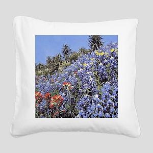 BLUEBONNETS AND CACTUS MOUSEP Square Canvas Pillow