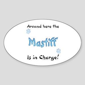 Mastiff Charge Oval Sticker