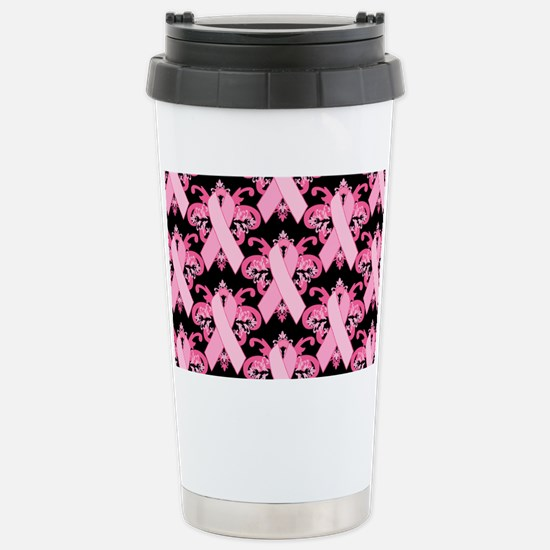 PinkRibHLLLPbMiniW Stainless Steel Travel Mug