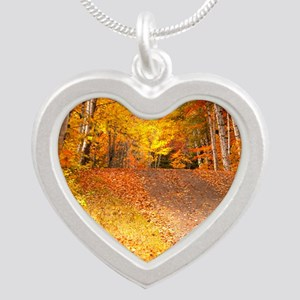 AutumnFoliageRural_9X12 Silver Heart Necklace