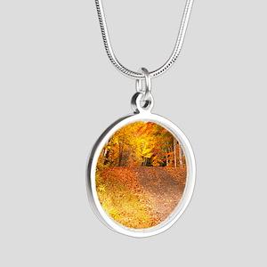 AutumnFoliageRural_9X12 Silver Round Necklace