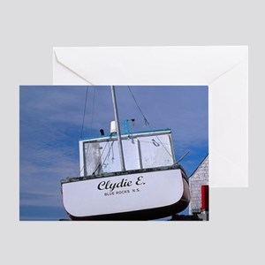 Blue Rocks. Lobster boat on dry land Greeting Card