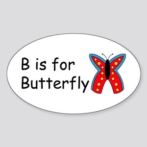 B is for Butterfly Oval Sticker