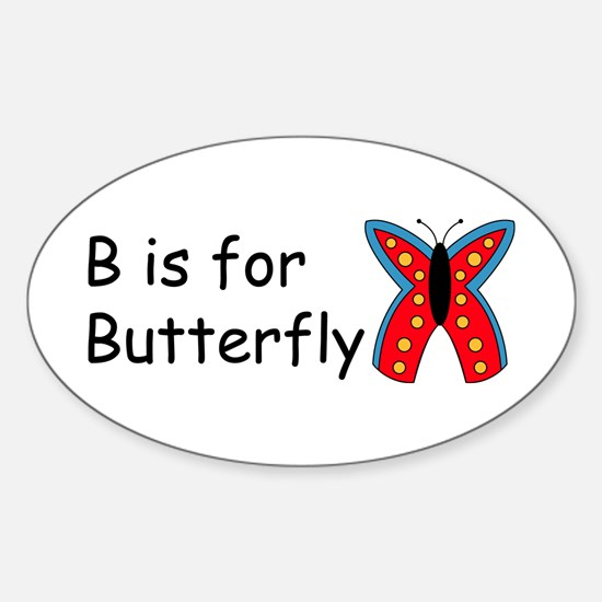 B is for Butterfly Oval Decal