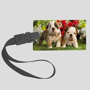 cute_bulldog_puppies_wide_wallpa Large Luggage Tag